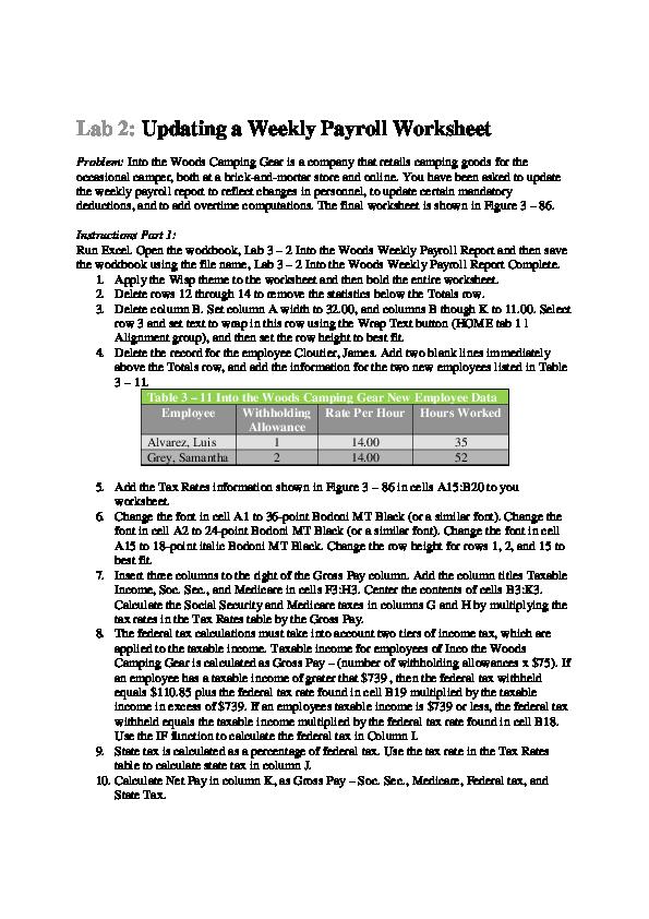 PDF) Lab 2: Updating a Weekly Payroll Worksheet   Joaquin Nevarez