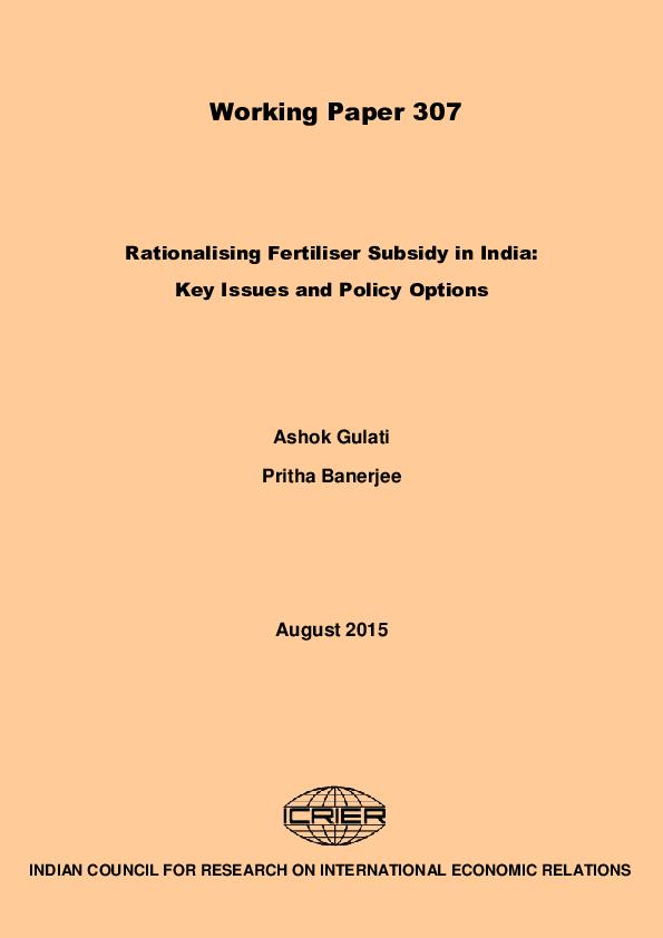 PDF) Rationalizing Fertilizer Subsidy in India-Key Issues