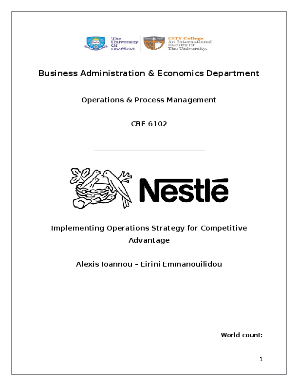 DOC) Nestle SA: An analysis of 5 operations functions and