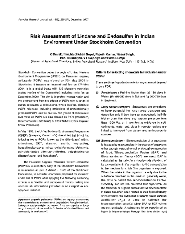 PDF) Risk Assessment of Lindane and Endosulfan in Indian