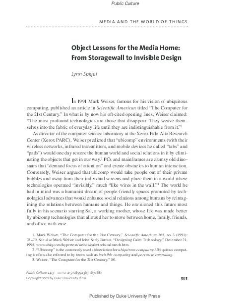 PDF) Object Lessons for the Media Home: From Storagewall to