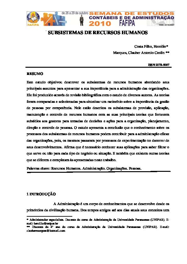 Subsistemas de recursos humanos pdf