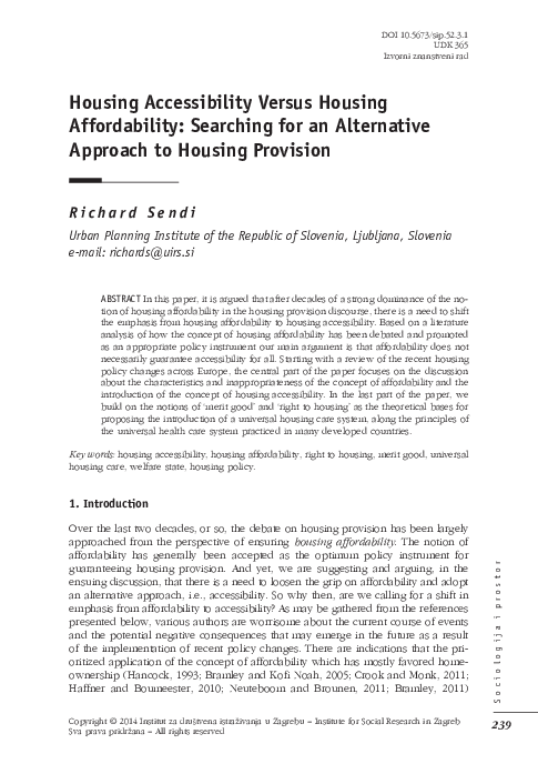 PDF) Housing Accessibility Versus Housing Affordability