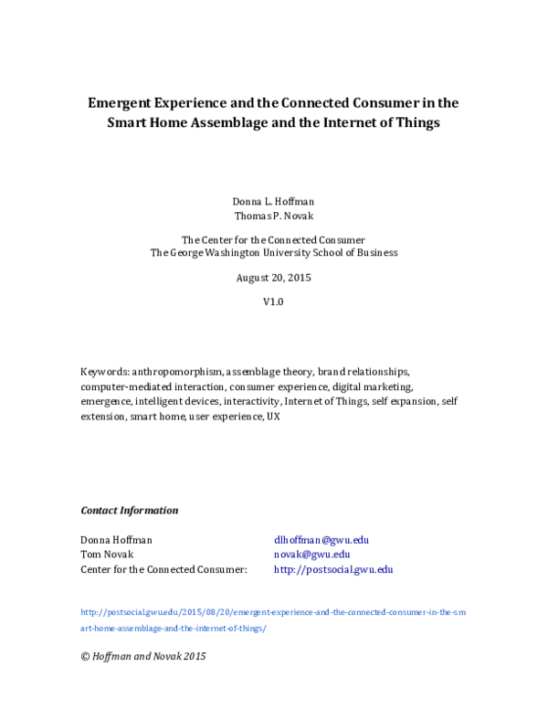 PDF) Emergent Experience and the Connected Consumer in the