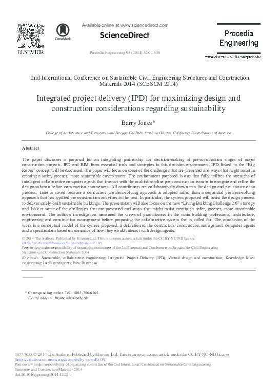 Pdf Integrated Project Delivery Ipd For Maximizing Design And Construction Considerations Regarding Sustainability Tri Le Thanh Academia Edu