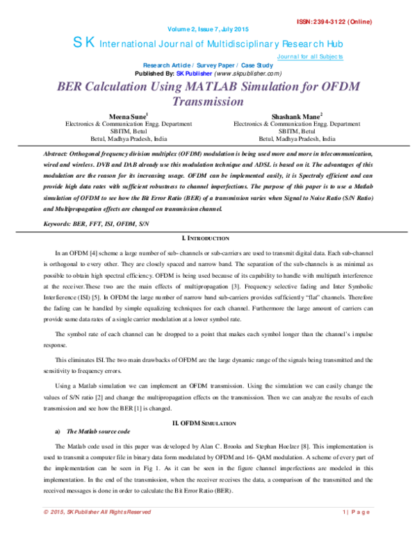 PDF) BER Calculation Using MATLAB Simulation for OFDM