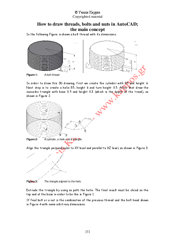 PDF) How to draw 3D threads, bolts and nuts in AutoCAD