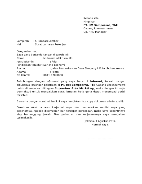 Contoh Surat Lamaran Umum Muhammad Ikhsan Mr Academia Edu