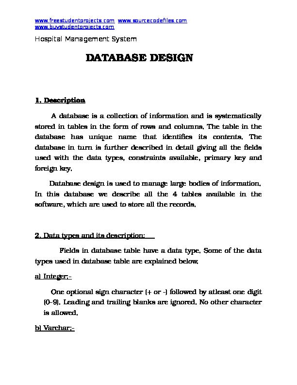 Doc Hospital Management System Database Design Albert Einstein Academia Edu