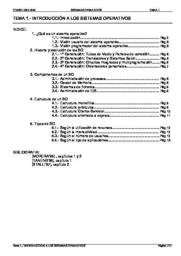 Pdf Indice 1 Qué Es Un Sistema Operativo Jesus Fuentes