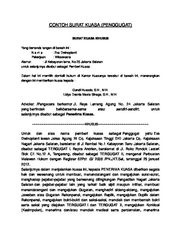 Doc Contoh Surat Kuasa Penggugat Gee Dion Academiaedu