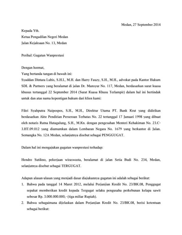Pdf Contoh Surat Gugatan Syaddan Dintara Lubis Academiaedu