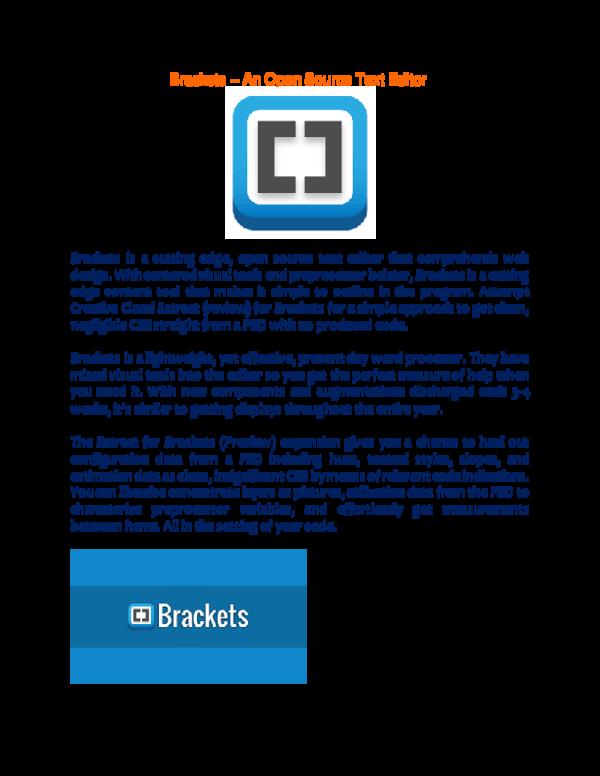 Brackets – An Open Source Text Editor | Shahriar Kabir - Academia edu
