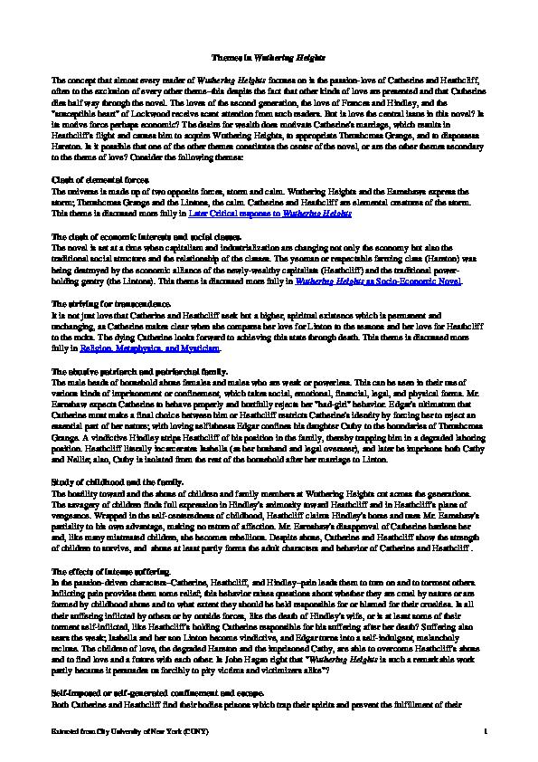 DOC) Themes in Wuthering Heights | Gul Sara - Academia edu