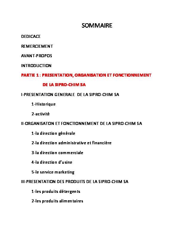 Pdf Sommaire Dedicace Remerciement Avant Propos Sali