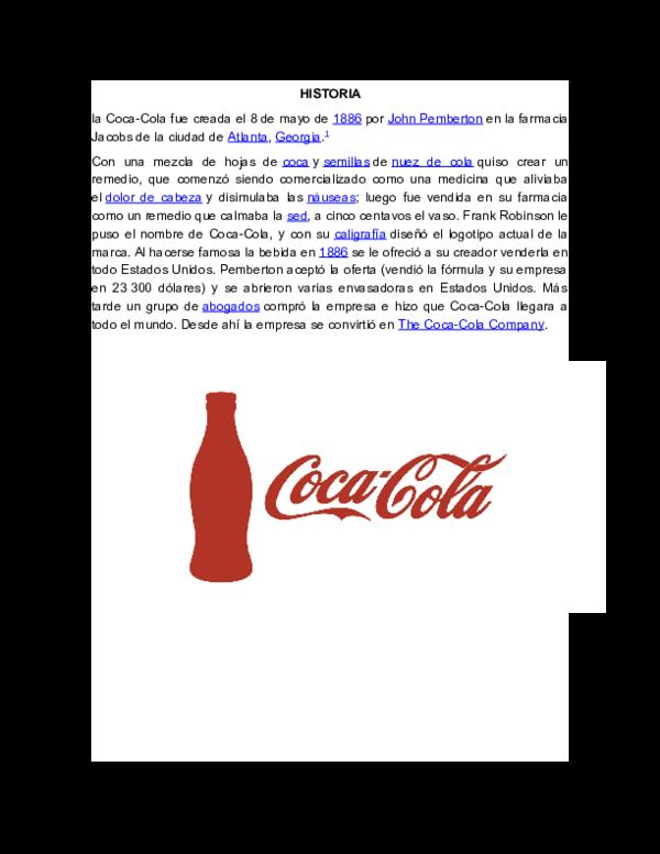 Doc Historia Coca Cola Paola Bonilla Academia Edu