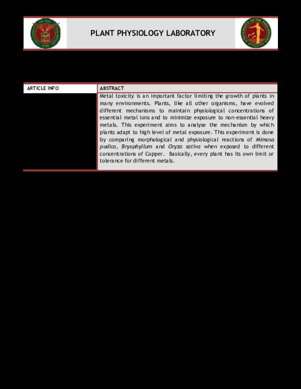 PDF) Plant Metal Tolerance | Jaja Amuenda - Academia edu