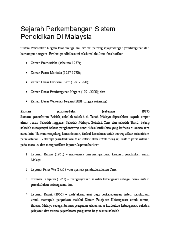 Sejarah Perkembangan Sistem Pendidikan Di Malaysia Alice Pan Academia Edu
