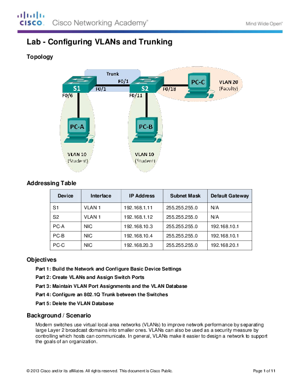 PDF) Lab - Configuring VLANs and Trunking Topology