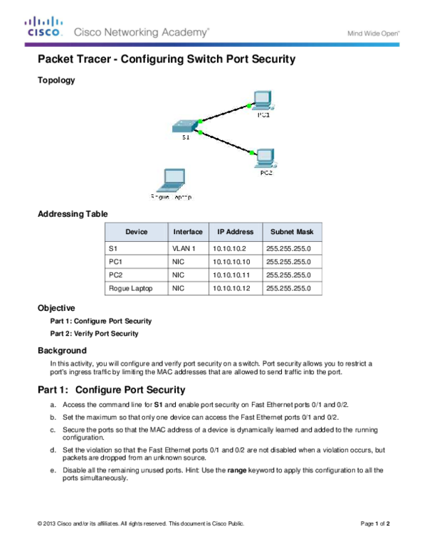 PDF) Packet Tracer -Configuring Switch Port Security
