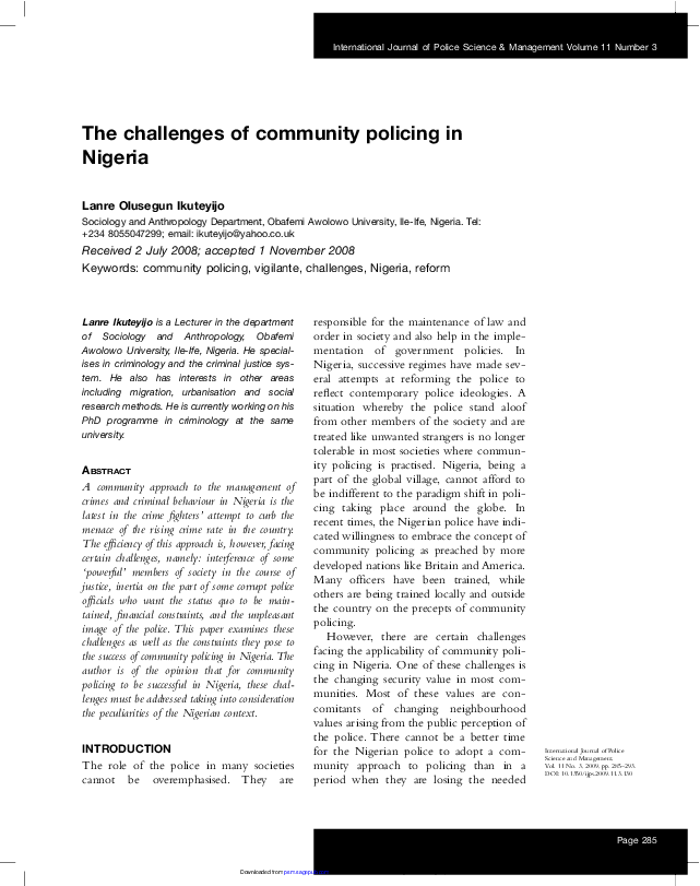 PDF) The challenges of community policing in Nigeria | Lanre
