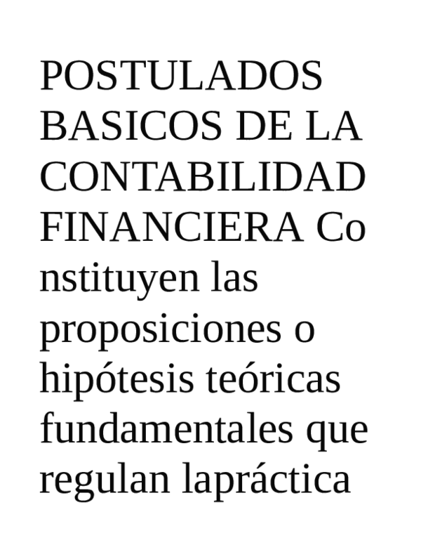 Postulados Basicos De La Contabilidad Financiera Co