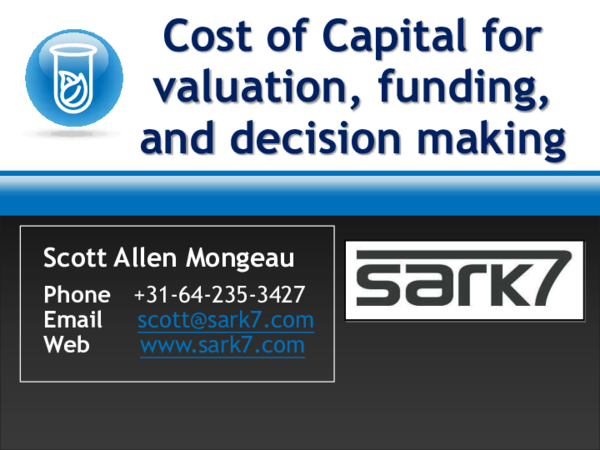 PDF) Cost of Capital for Valuation, Capital Funding, and