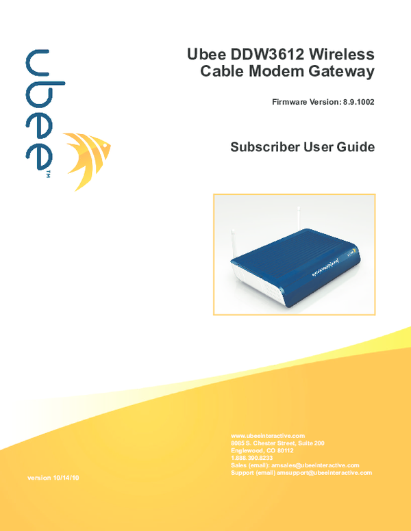 PDF) Ubee DDW3612 Wireless Cable Modem Gateway Subscriber