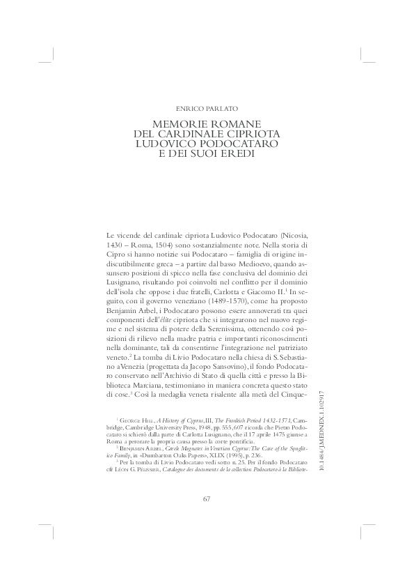 Memorie romane del cardinale cipriota Ludovico Podocataro e dei suoi ... bd87d83dfa2c