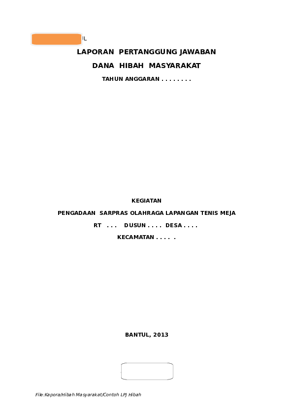 Doc Contoh Lpj Hibah Kucinta Sehat Academia Edu