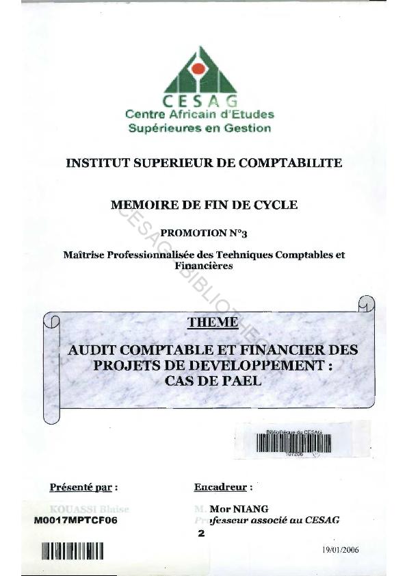 Pdf Audit Comptable Et Financier Association Senegales 1