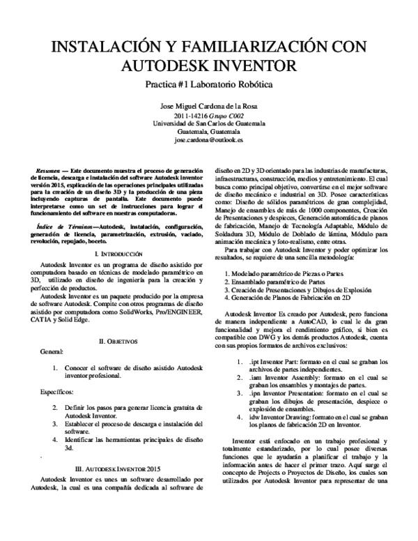 Pdf Instalación Y Familiarización Con Autodesk Inventor