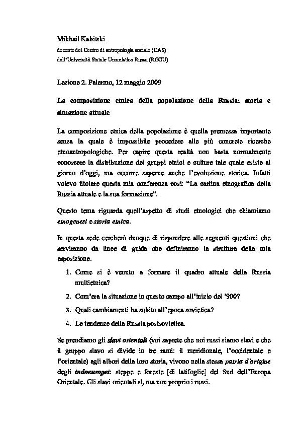 Russia Oggi Cartina.Doc La Composizione Etnica Della Popolazione Della Russia Storia E Situazione Attuale Mikhail Kabitski Academia Edu