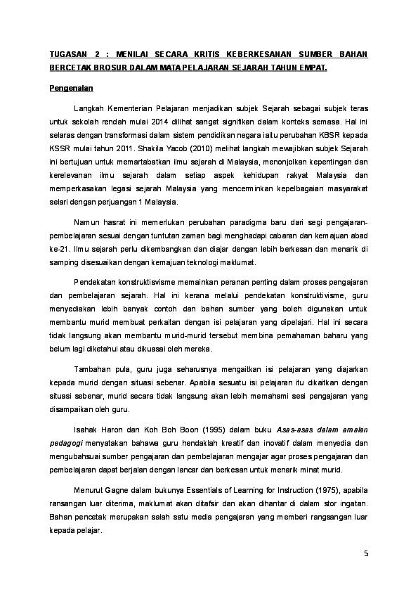Doc Penggunaan Pelbagai Kaedah Pengajaran Dan Pengajaran Sejarah Di Dalam Bilik Darjah Praba Rajamanickam Academia Edu