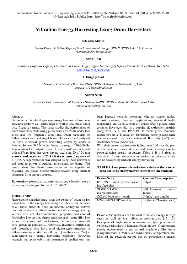 PDF) Vibration Energy Harvesting Using Drum Harvesters