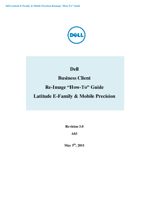 PDF) Dell Latitude E-Family & Mobile Precision Reimage