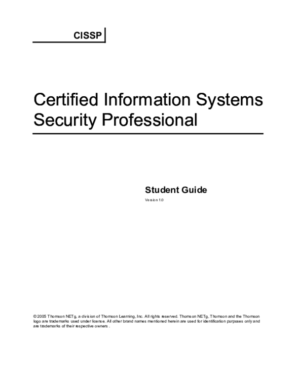 PDF) Certified Information Systems Security Professionals