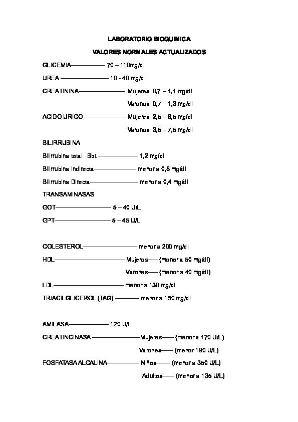 valores referenciales de las transaminasas