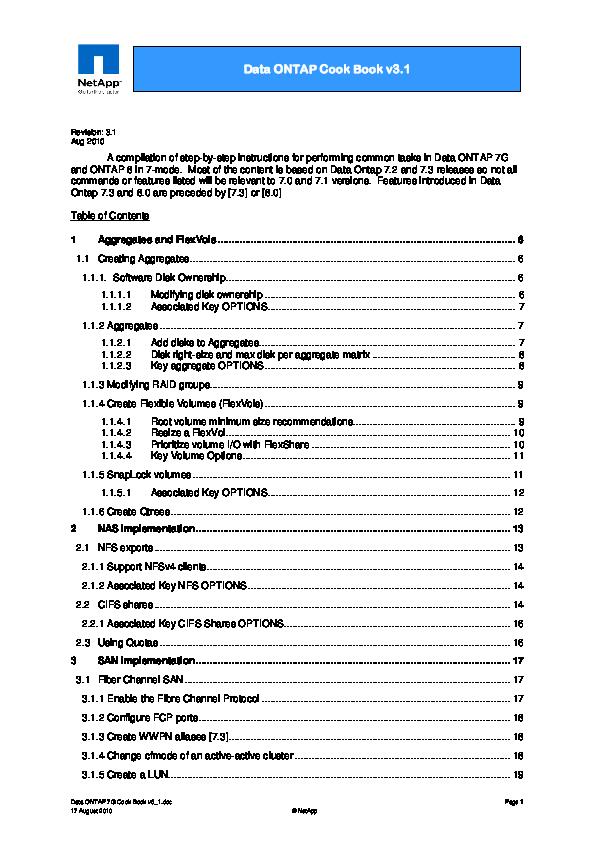 PDF) Data ONTAP Cook Book v3 1 | Qwe Qwe - Academia edu