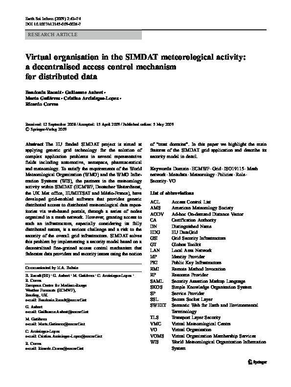 PDF) Virtual organisation in the SIMDAT meteorological