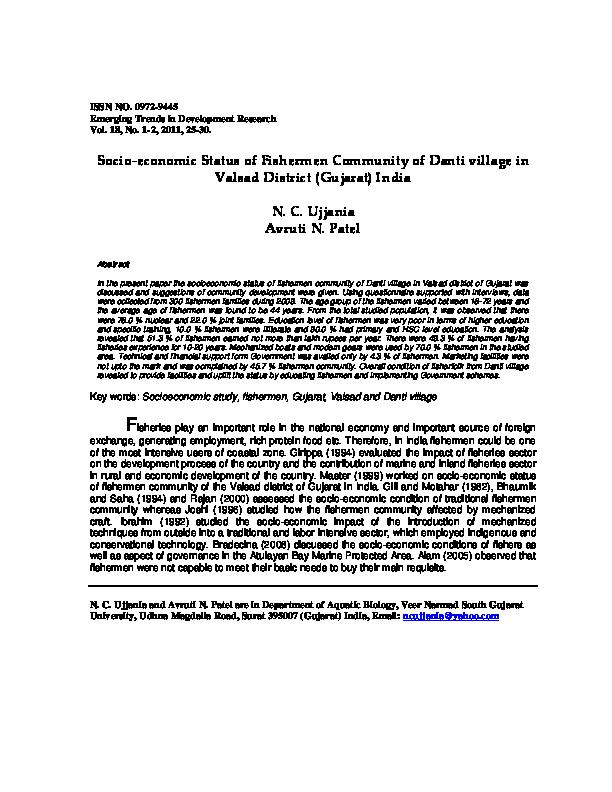 PDF) Socio-economic status of fishermen community of Danti