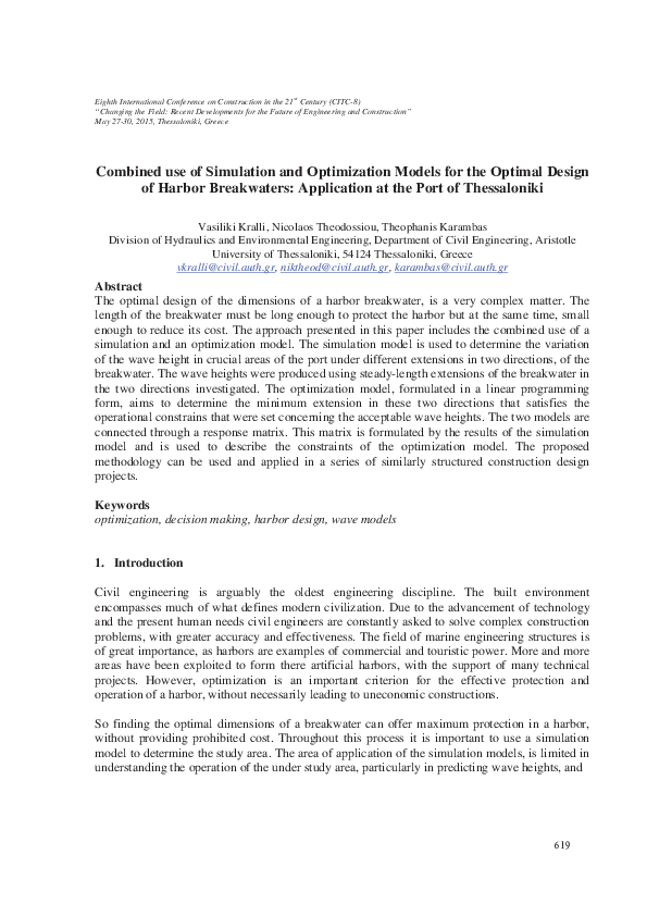 PDF) Combined use of simulation and optimization models for