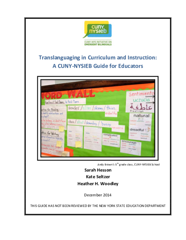 PDF) Translanguaging in Curriculum and Instruction: A CUNY ...
