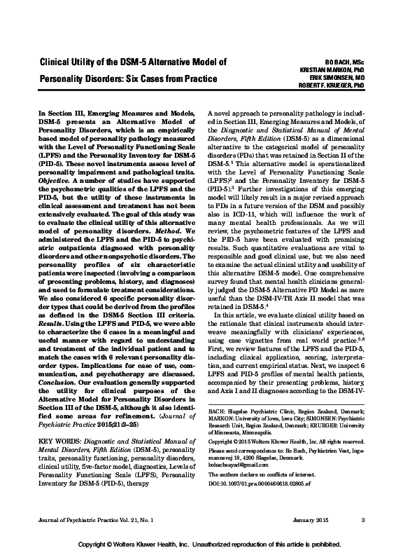 Pdf Clinical Utility Of The Alternative Dsm 5 Model Of Personality