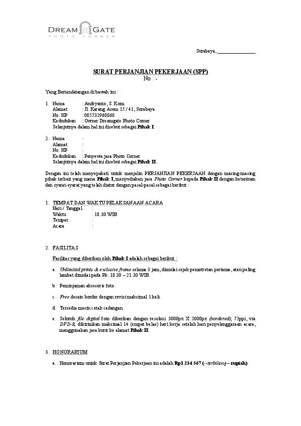 Pdf Surat Kontrak Jasa Photo Corner Rizky Mauludi Academiaedu