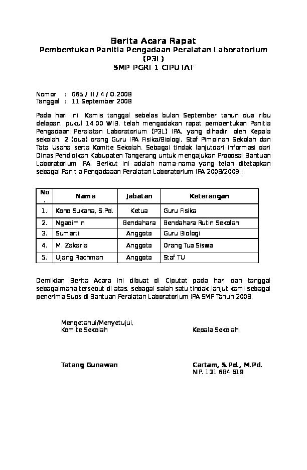 Berita Acara Rapat Pembentukan Panitia Smp Paramarta Academia Edu