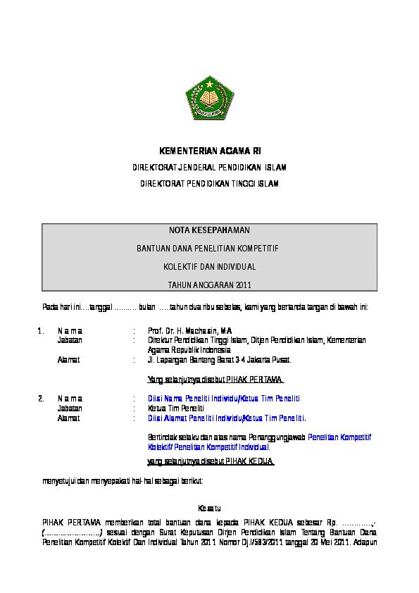 Doc Contoh Mou Nota Kesepahaman Abi Yoni Academiaedu