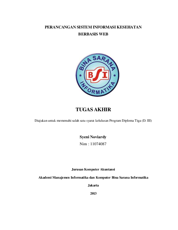 Pdf Perancangan Sistem Informasi Kesehatan Berbasis Web Tugas