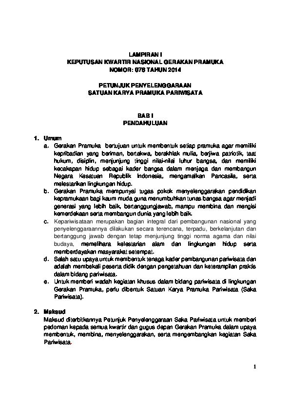 Pdf Petunjuk Penyelenggaraan Saka Pariwisata Bambang