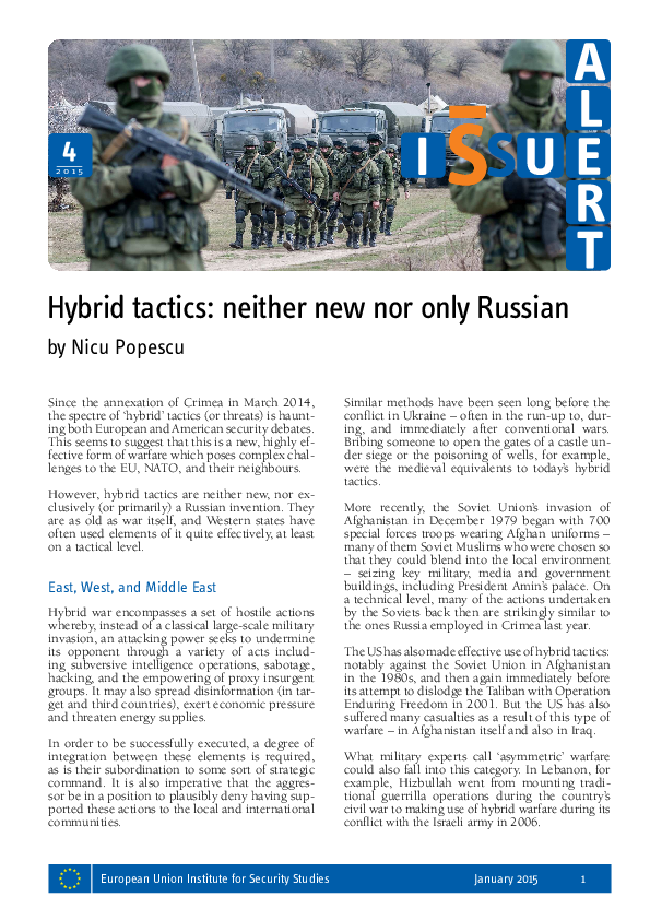 PDF) Hybrid tactics: neither new nor only Russian | Nicu